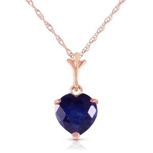 GOLD NECKLACE WITH NATURAL HEART SAPPHIRE
